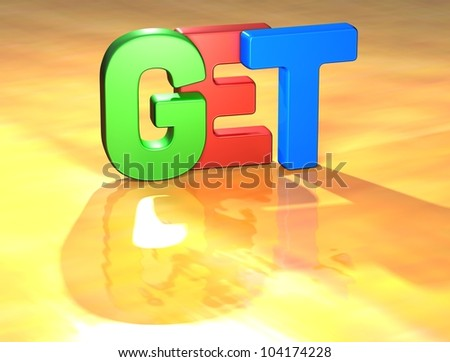 Word Get on yellow background (high resolution 3D image) - stock photo