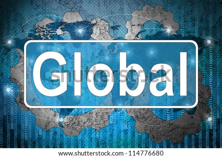 Word global on network background - stock photo