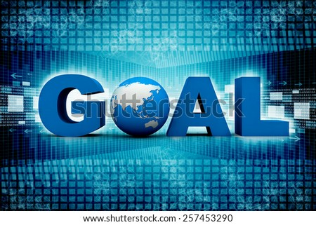 word GOAL with 3d globe replacing letter O - stock photo