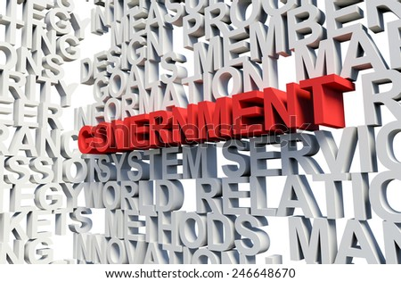 Word Government in red, salient among other related keywords concept in white. 3d render illustration. - stock photo