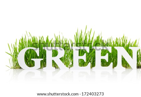 word green with fresh grass isolated