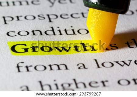 Word growth highlighted with a yellow marker