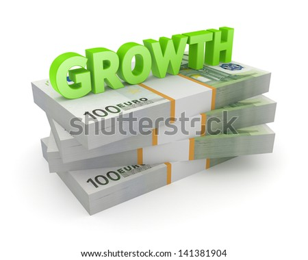 Word GROWTH on a stack of euro. Isolated on white. 3d rendered. - stock photo