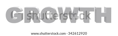 Word growth on isolated white background, front view