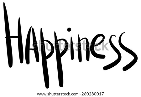 word happiness with black writing by hand