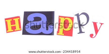 """Word """"Happy"""" made of colorful newspaper letters isolated on white - stock photo"""