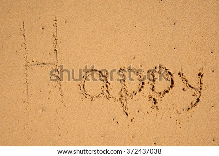 word happy written on the sand beach - stock photo