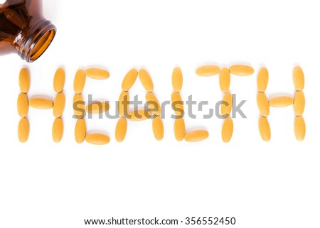 Word HEALTH arranged from pills; Health concept - stock photo