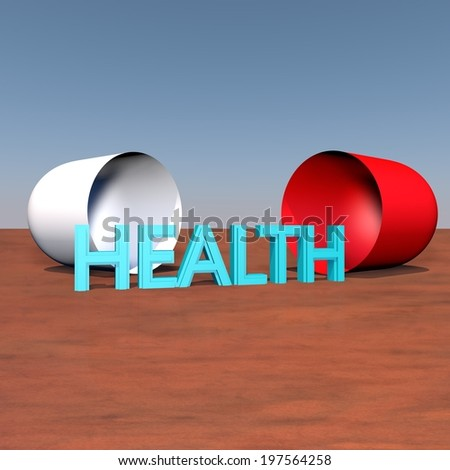 "Word ""health"" coming out of a pill, 3d render - stock photo"