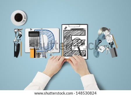 word idea built of business subjects and hands - stock photo