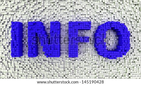 Word INFO made from matrix of blue cubes