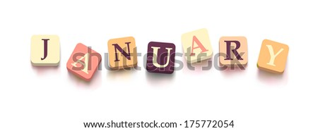 "Word ""january"" with colorful blocks isolated on a white background. Description with bright cubes."