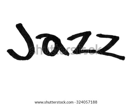 Word jazz handwritten with black marker isolated on white background