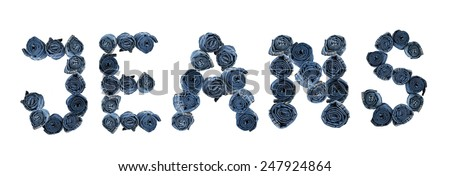 "Word ""JEANS"" made of rolled jeans isolated on white background - stock photo"
