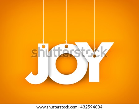 Word JOY hanging on the ropes. 3d illustration - stock photo
