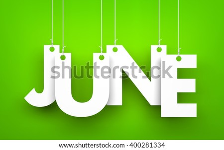 Word JUNE hanging on the ropes. 3d illustration - stock photo