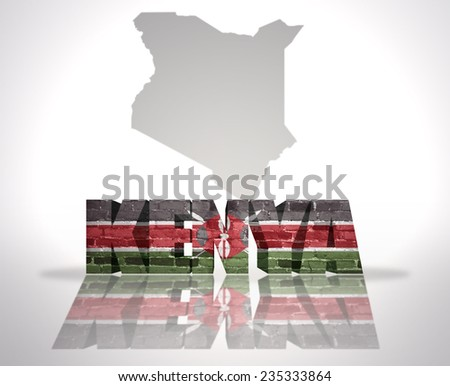 Word Kenya with National Flag near map of Kenya - stock photo