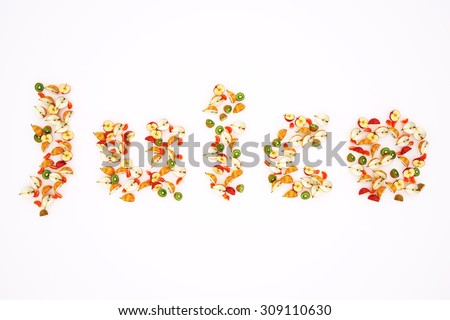 Word laid out fruit. - stock photo