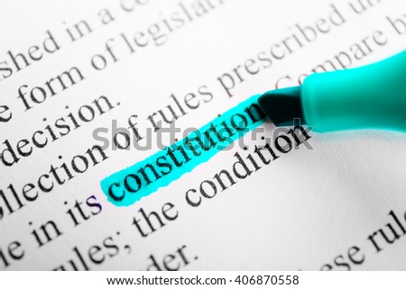 Word law highlighted with a blue marker - stock photo