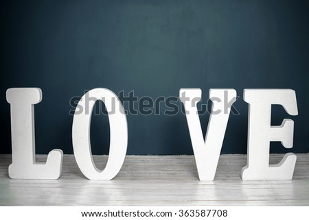 "word ""love"" in big letters"