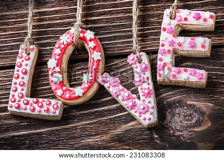 word love made of cookies Valentines Day - stock photo