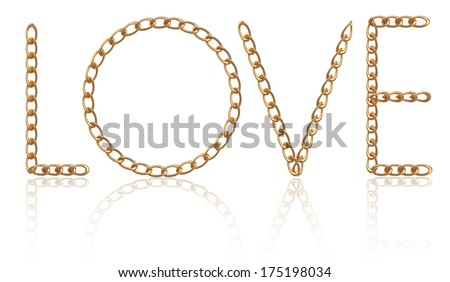 "Word ""Love"" made with gold chain"