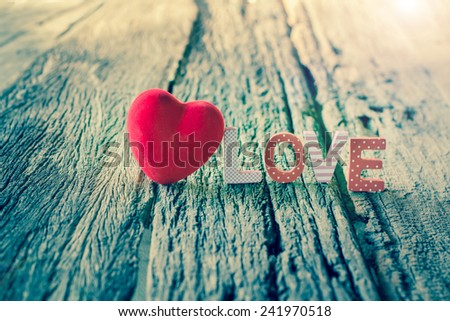 Word Love with Heart shaped, Valentine's Day background - stock photo