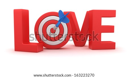 Word Love with small dartboard on white background