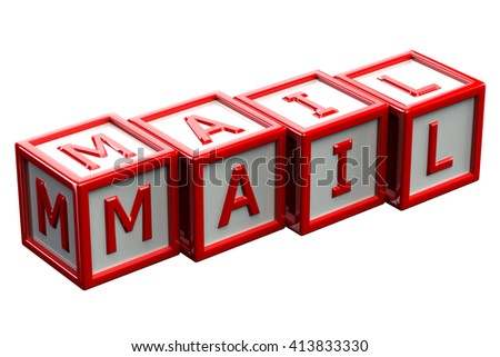 Word mail written on blocks, isolated on white background. 3D rendering. - stock photo