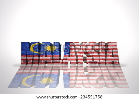 Word Malaysia with National Flag on the white background
