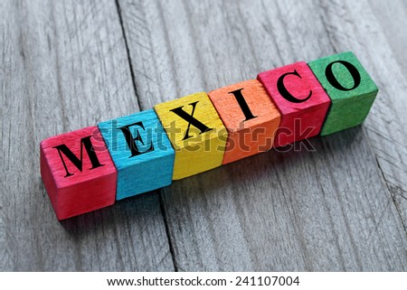 word mexico on colorful wooden cubes - stock photo