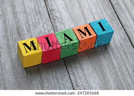 word Miami on colorful wooden cubes