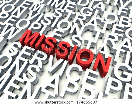 Word Mission in red, salient among other related keywords in white. 3d render illustration.