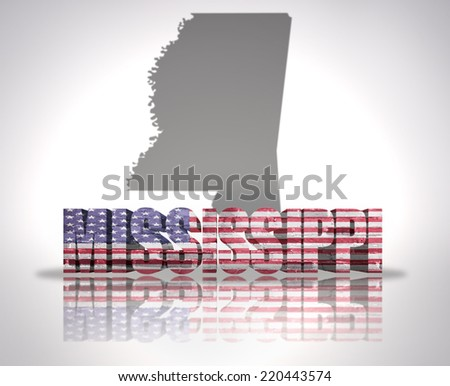 Word Mississippi with National Flag of USA near map State - stock photo