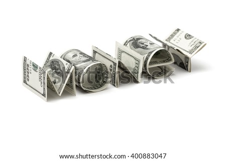 "Word ""Money"" from dollars on white background. Concept of money,finance and business"