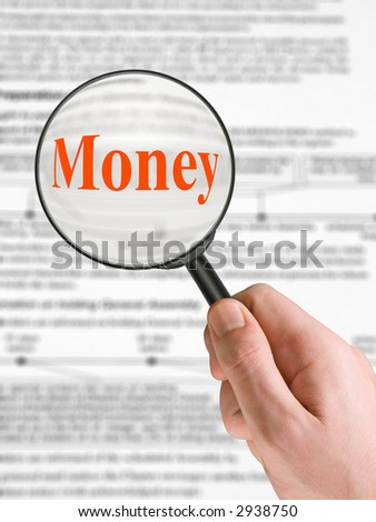 Word Money, magnifying glass in hand, business background