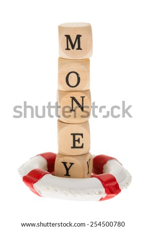 Word Money On Wooden Pieces In Life Belt Over White Background - stock photo