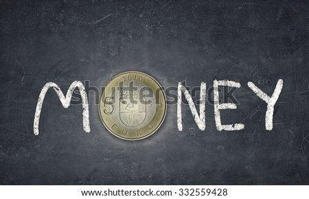 Word money with fife euro coin instead of letter O - stock photo