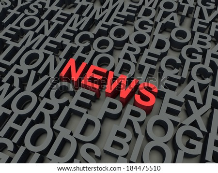 Word News in red, salient among other keywords concept in grey. 3d render illustration.
