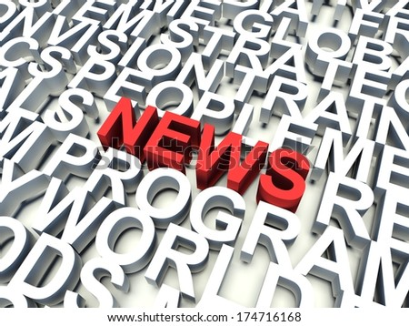 Word News in red, salient among other related keywords concept in white. 3d render illustration. - stock photo