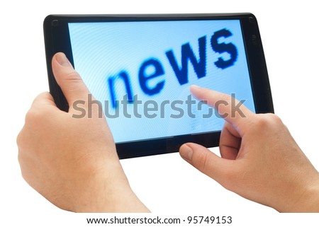 word news on touch tablet with clipping path