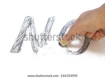 "Word ""no"" erased - stock photo"