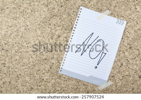 Word No on paper note. - stock photo