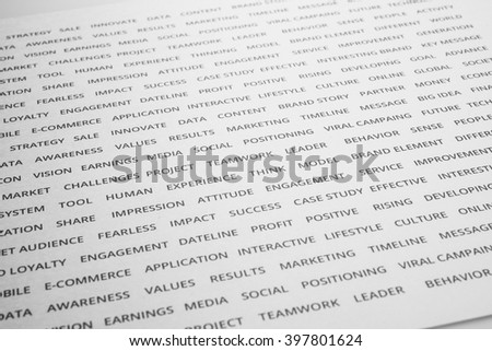 Word of business strategy branding on paper.For marketing success concept