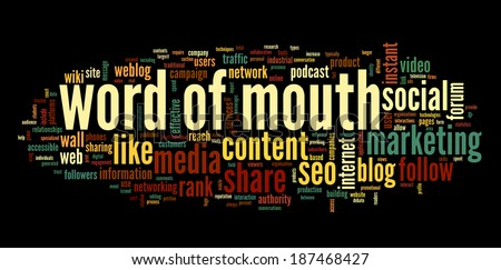 Word of mouth and social media in word tag cloud on white background