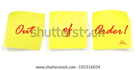 word of out of order on post it note isolate on white