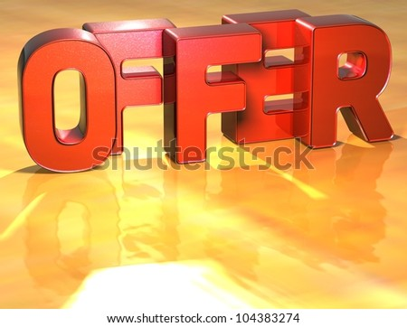 Word Offer on yellow background (high resolution 3D image)