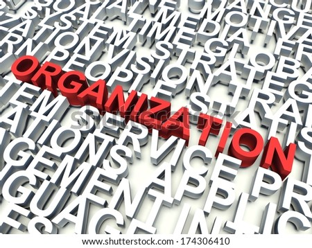 Word Organization in red, salient among other related keywords concept in white. 3d render illustration.
