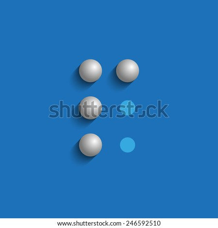 Word P in Braille on blue background - stock photo