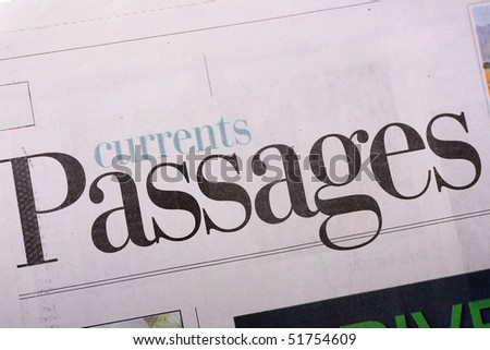Word Passages as heading heading in the newspaper.